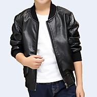 Kids Boys' Basic Daily Solid Colored Long Sleeve Regular PU Suit & Blazer Black