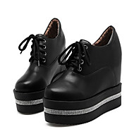 cheap Women's Oxfords-Women's Shoes PU(Polyurethane) Fall & Winter Fashion Boots / Bootie Oxfords Wedge Heel Round Toe Booties / Ankle Boots Rhinestone White / Black