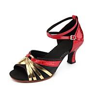 Dame Moderne dansesko Syntetisk læder Sandaler Cubanske hæle Kan tilpasses Dansesko Guld / Sølv / Sort / Rød