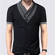 Herre - Ensfarvet / Farveblok Patchwork Basale T-shirt
