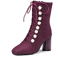 cheap Square Toe Boots-Women's Shoes Suede Fall & Winter Fashion Boots Boots Chunky Heel Square Toe Mid-Calf Boots Rivet Black / Burgundy / Party & Evening