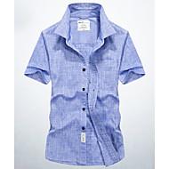 Pánské - Jednobarevné Základní Košile Bavlna Vodní modrá XXL / Krátký rukáv / Léto