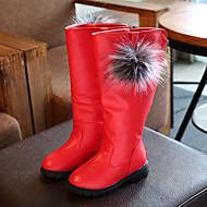 baratos Sapatos de Menina-Para Meninas Sapatos Couro Ecológico Outono & inverno Conforto / Botas da Moda Botas Caminhada Penas para Infantil Preto / Vermelho / Vinho / Botas Cano Médio