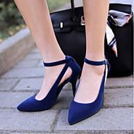 baratos Sapatos Femininos-Mulheres Camurça Verão Conforto Saltos Salto Agulha Dedo Apontado Preto / Vermelho / Azul / Diário