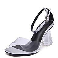 baratos Sapatos Femininos-Mulheres Sapatos Pele Napa Verão Conforto Sandálias Heel translúcido Branco / Preto
