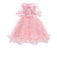 Χαμηλού Κόστους -Παιδιά / Νήπιο Κοριτσίστικα Βίντατζ / Βασικό Πάρτι / Αργίες Μονόχρωμο Δαντέλα Αμάνικο Ως το Γόνατο Φόρεμα / Βαμβάκι