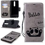 billiga Mobil cases & Skärmskydd-fodral Till Nokia Nokia 5.1 / Nokia 3.1 Plånbok / Korthållare / med stativ Fodral Panda Hårt PU läder för Nokia 5 / Nokia 5.1 / Nokia 3