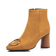 baratos 2018 Botas Femininas-Mulheres Sapatos Couro Ecológico Outono & inverno Botas da Moda Botas Salto Robusto Botas Curtas / Ankle Preto / Amarelo