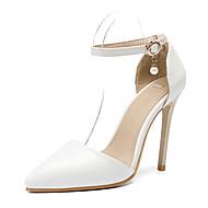 tanie Small Size Shoes-Damskie Imprezowe szpilki PU Jesień i zima D'Orsay i dwuczęściowe Buty ślubne Szpilka Nasek w szpic Ćwiek / Klamra Biały / Ślub / Impreza / bankiet