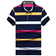 Herre - Stribet / Farveblok Trykt mønster Basale Polo