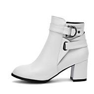 baratos 2018 Botas Femininas-Mulheres Couro Ecológico Primavera / Outono Conforto / Botas da Moda Botas Salto Robusto Branco / Preto / Bege
