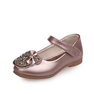 baratos Sapatos de Menina-Para Meninas Sapatos Couro Ecológico Primavera Verão Conforto / Sapatos para Daminhas de Honra Rasos Caminhada Laço / Lantejoulas para Adolescente Branco / Rosa claro / Champanhe