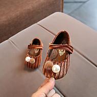 baratos Sapatos de Menina-Para Meninas Sapatos Algodão Primavera & Outono Conforto Rasos Pérolas / Velcro / Pom Pom para Bebê Cinzento / Marron / Verde