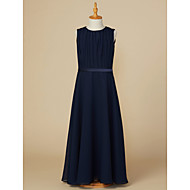 cheap -A-Line Jewel Neck Ankle Length Chiffon Junior Bridesmaid Dress with Sash / Ribbon / Ruching by LAN TING BRIDE®