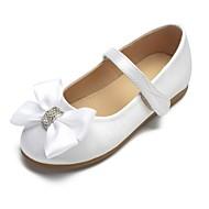 baratos Sapatos de Menina-Para Meninas Sapatos Cetim Primavera Verão Bailarina / Sapatos para Daminhas de Honra Rasos Laço / Gliter com Brilho / Presilha para Infantil Branco / Ivory / Casamento