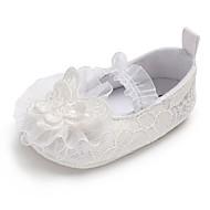 baratos Sapatos de Menina-Para Meninas Sapatos Renda Primavera & Outono Conforto / Primeiros Passos / Sapatos de Berço Rasos Laço / Elástico para Bebê Branco / Casamento / Festas & Noite