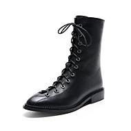 baratos Sapatos Femininos-Mulheres Sapatos Pele Napa Primavera Botas da Moda Botas Salto de bloco Ponta Redonda Botas Curtas / Ankle Preto / Festas & Noite