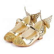 ieftine Pantofi Fata cu Flori-Fete Pantofi Imitație Piele Primăvara & toamnă Pantofi Fata cu Flori Tocuri Paiete / Franjuri pentru Copii Argintiu / Albastru / Roz