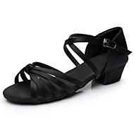 billige Sko til latindans-Dame Sko til latindans Sateng Sandaler / Høye hæler Tvinning Tykk hæl Kan spesialtilpasses Dansesko Svart