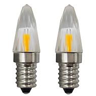 billige Stearinlyslamper med LED-2pcs 3 W 150-200 lm E14 LED-lysestakepærer 1 LED perler COB Dekorativ Varm hvit / Kjølig hvit 110-120 V