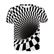 קולור בלוק / 3D בסיסי / סגנון רחוב טישרט - בגדי ריקוד גברים דפוס שחור ולבן