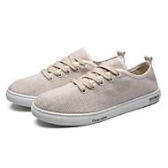 baratos Sapatos Masculinos-Homens Sapatos Confortáveis Linho Primavera Verão Casual / Minimalismo Tênis Branco / Preto / Bege