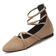 baratos Sapatos Femininos-Mulheres Camurça Outono Tira no Tornozelo Rasos Sem Salto Dedo Apontado Preto / Khaki
