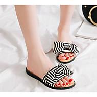 cheap -Women's Synthetics Summer Comfort Slippers & Flip-Flops Flat Heel Black / Red / Blue
