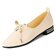 baratos Sapatos Femininos-Mulheres Sapatos Couro Ecológico Outono Com Laço Oxfords Salto Robusto Dedo Apontado Preto / Bege / Marron