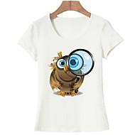 Mujer Básico Noche Estampado - Algodón Camiseta Animal Blanco L