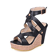 cheap -Women's Shoes PU(Polyurethane) Spring & Summer Gladiator Sandals Wedge Heel Open Toe White / Black / Party & Evening