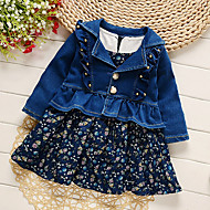 Baby Pige Vintage Ensfarvet Langærmet Tøjsæt