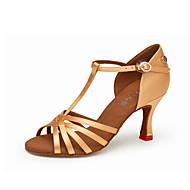 billige Sko til latindans-Dame Sko til latindans Sateng Høye hæler Kubansk hæl Dansesko Svart / Gul / Brun