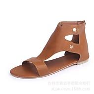 baratos Sapatos Femininos-Mulheres Sapatos Couro Ecológico Verão Conforto Sandálias Sem Salto Preto / Castanho Claro / Castanho Escuro