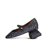 baratos Sapatos Femininos-Mulheres Mary Janes Sintéticos Primavera Verão Rasos Salto Baixo Lantejoulas Preto / Prateado