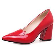 baratos Sapatos Femininos-Mulheres Stiletto Couro Ecológico Primavera & Outono Saltos Salto Robusto Dedo Apontado Bege / Vermelho / Rosa claro