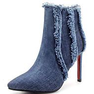 baratos Sapatos Femininos-Mulheres Cowboy / Western Boots Jeans Outono & inverno Botas Salto Agulha Dedo Apontado Botas Curtas / Ankle Mocassim Preto / Azul / Festas & Noite