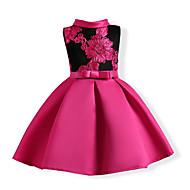 Дети Девочки Милая Для вечеринок Цветочный принт Бант / Вышивка Без рукавов Хлопок / Полиэстер Платье Пурпурный