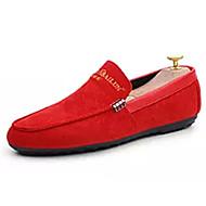 baratos Sapatos Masculinos-Homens Camurça Outono Mocassim Mocassins e Slip-Ons Preto / Vermelho