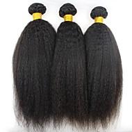 Lot de 3 Cheveux Brésiliens Droit crépu 8A Cheveux Naturel humain Tissages de cheveux humains Bundle cheveux Extensions Naturelles 8-28 pouce Couleur naturelle Tissages de cheveux humains Extention
