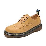 baratos Sapatos Femininos-Mulheres Sapatos Couro Primavera Verão Conforto Oxfords Sem Salto Ponta Redonda Preto / Castanho Claro / Castanho Escuro