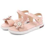 baratos Sapatos de Menina-Para Meninas Sapatos Pele Verão Conforto Sandálias Flor para Infantil / Adolescente Branco / Verde / Rosa claro
