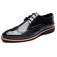 tanie Small Size Shoes-Męskie Buty Bullock Skóra Wiosna / Jesień W stylu brytyjskim Oksfordki Czarny / Szary / Wino / Impreza / bankiet