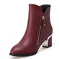 billige -Dame Fashion Boots PU Efterår Minimalisme Støvler Kraftige Hæle Rund Tå Støvletter Sort / Vin