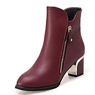 Mulheres Fashion Boots Couro Ecológico Outono Minimalismo Botas Salto Robusto Ponta Redonda Botas Cano Médio Preto / Vinho
