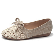 baratos Sapatos Femininos-Mulheres Sapatos Linho Verão Conforto Rasos Sem Salto Ponta Redonda Laço Preto / Bege