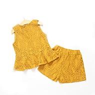مجموعة ملابس بدون كم خملة الجاكوارد أساسي للفتيات أطفال