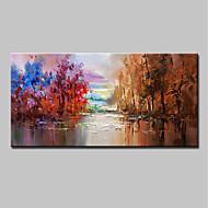 billiga Blom-/växtmålningar-Hang målad oljemålning HANDMÅLAD - Landskap / Blommig / Botanisk Moderna Inkludera innerram / Sträckt kanfas