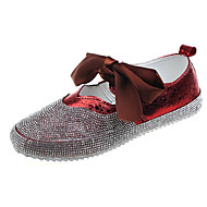 baratos Sapatos Femininos-Mulheres Sapatos Couro Ecológico Verão Conforto Rasos Sem Salto Ponta Redonda Laço Preto / Vermelho