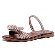 baratos Sapatos Femininos-Mulheres Couro Ecológico Verão Conforto Chinelos e flip-flops Sem Salto Branco / Preto / Khaki